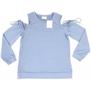 EMELIA Blue Long Sleeve Top Women Size Medium